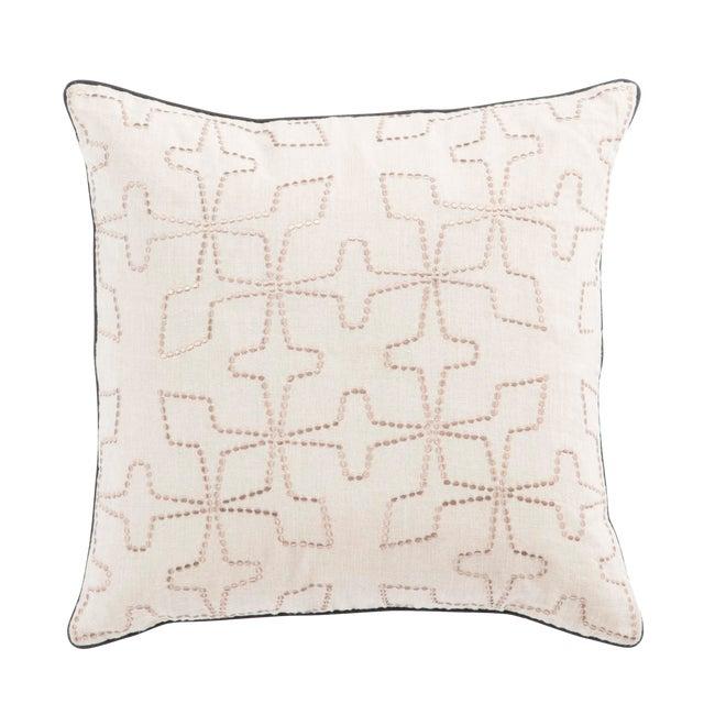 Nikki Chu by Jaipur Living Greta Cream/ Beige Geometric Poly Throw Pillow For Sale