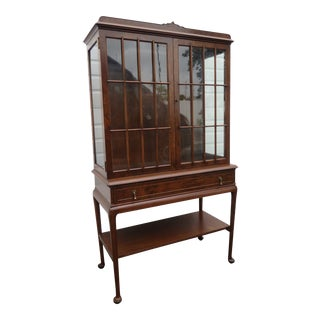 Walnut Queen Anne Legs China Display Cabinet Cupboard For Sale