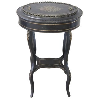 19th Century French Napoleon III Inlaid Wood With Golden Bronzes Side Table For Sale