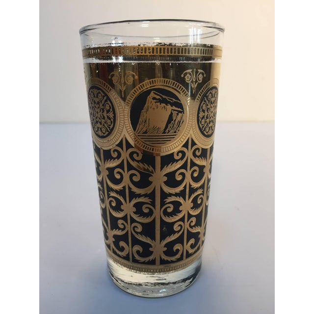 1950s Vintage Eight Highball Black and Gold Glasses in a Brass Cart by Fred Press For Sale - Image 5 of 10