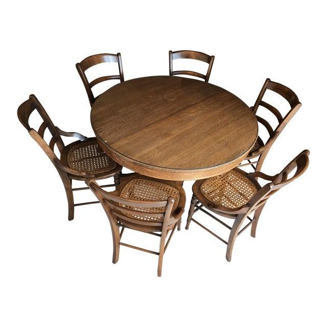 Antique Round Oak Dining Set - Image 1 of 8