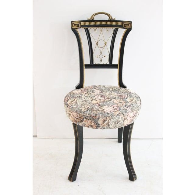 Hollywood Regency Black & Brass Desk Chair - Image 2 of 4