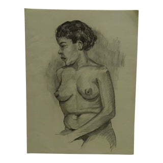 "1955 Mid-Century Modern Original Drawing on Paper, ""Nude Looking Right"" by Tom Sturges Jr"