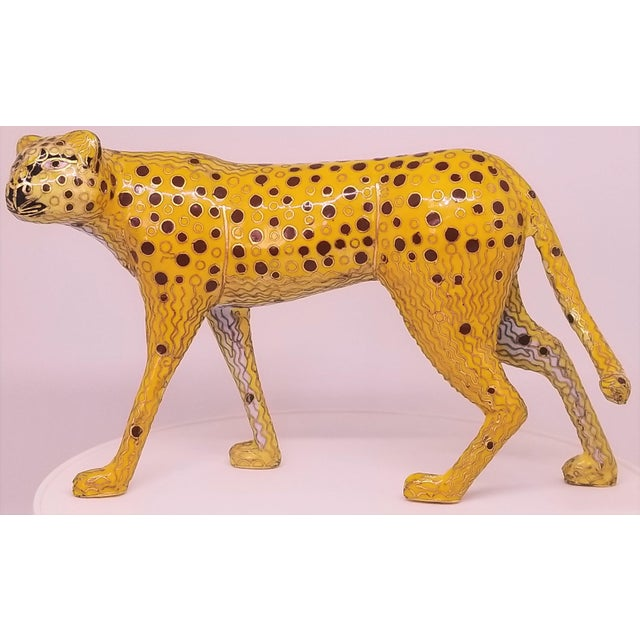 Cheetah - Vintage Cloisonne Enamel and Brass Sculpture - Mid Century Modern Palm Beach Boho Chic Animal Tropical Coastal For Sale - Image 12 of 12