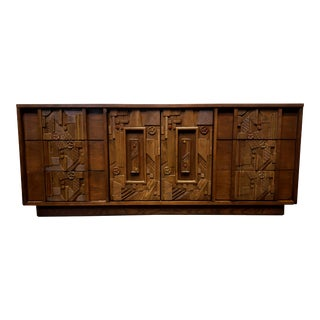 1970s Brutalist Pueblo Credenza Dresser by Lane For Sale