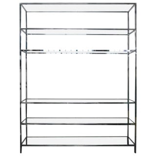 Oversize Chrome and Glass Etagere For Sale