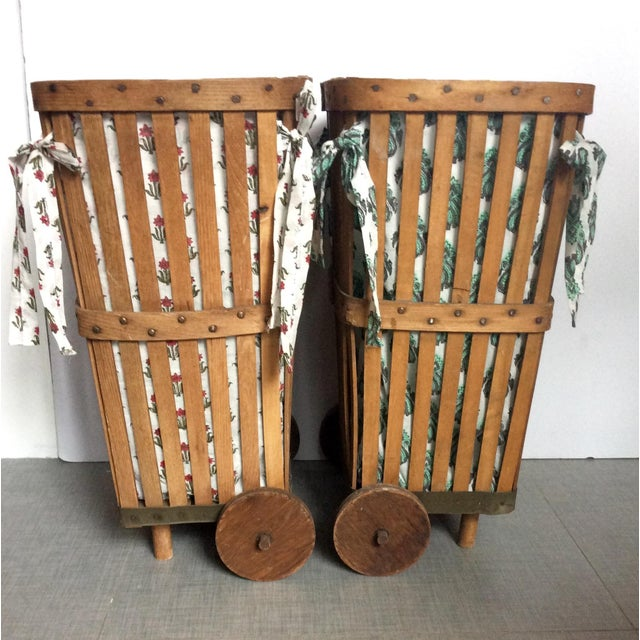 Antique 1920s Wood Baskets on Wheels - Image 4 of 9