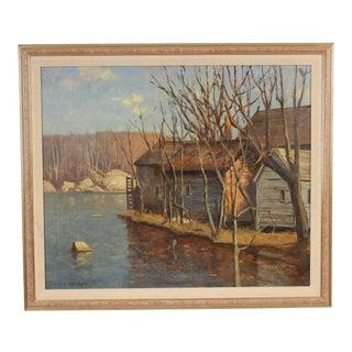 1960s Vintage Julius M. Delbos Landscape Painting For Sale