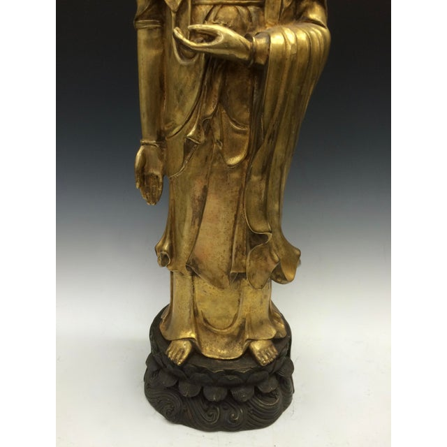 Chinese Art Gold Gilt Bronze Standing Kwan Yin Sculpture - Image 3 of 10