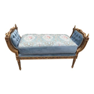 New French Louis XVI Style Blue Velvet Upholstered Gold Leaf Settee. Made to Order For Sale