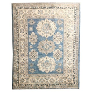 Washed Wool Kazak Rug - 4′ × 5′9″ For Sale