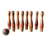 Image of Antique Wooden Skittles Set For Sale