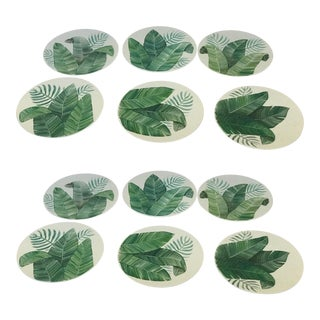 Set of 12 Hand Painted Leaf Plates From Spain