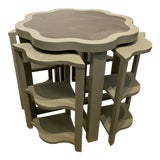 Image of Vanguard Ostrich Leather Inlaid Nesting Tables - 5 Pieces For Sale