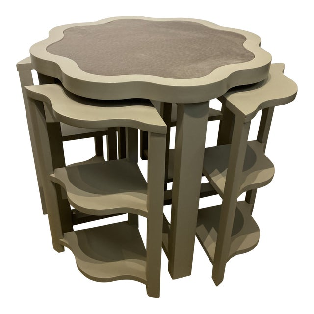 Vanguard Ostrich Leather Inlaid Nesting Tables - 5 Pieces For Sale