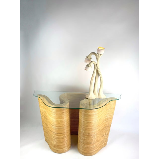 Late 20th Century Pencil Reed Bamboo Curvy Ribbon Scroll Console Aft Gabriella Crespi For Sale - Image 5 of 13