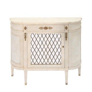 Narrow Hall Chest With Grille-Front Mirrored Door For Sale