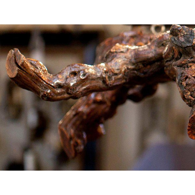 Iron Rustic Gnarled Reclaimed Wood Chandelier with Six Lights from Belgium, circa 1950 For Sale - Image 7 of 10
