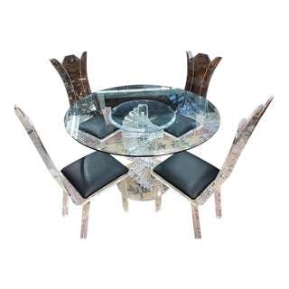 Hollywood Regency Sculptural Lucite Dining Set - 5 Pieces Set For Sale