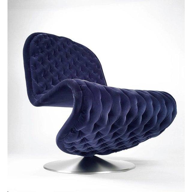 Mid-Century Modern Danish Modern Verner Panton 'System 123' Deluxe Lounge Chair in Blue Velvet For Sale - Image 3 of 9