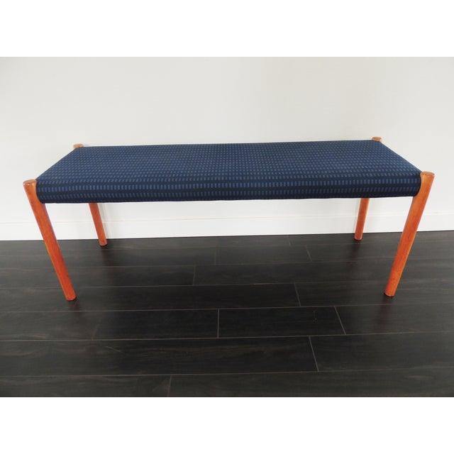 1970's Vintage J.L. Møllers Møbelfabrik Danish Modern Blue Bench For Sale - Image 11 of 11