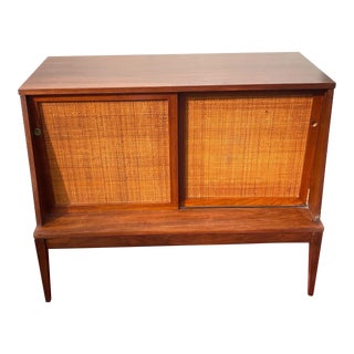 Vintage Mid-Century Modern Cane and Walnut Media Console For Sale