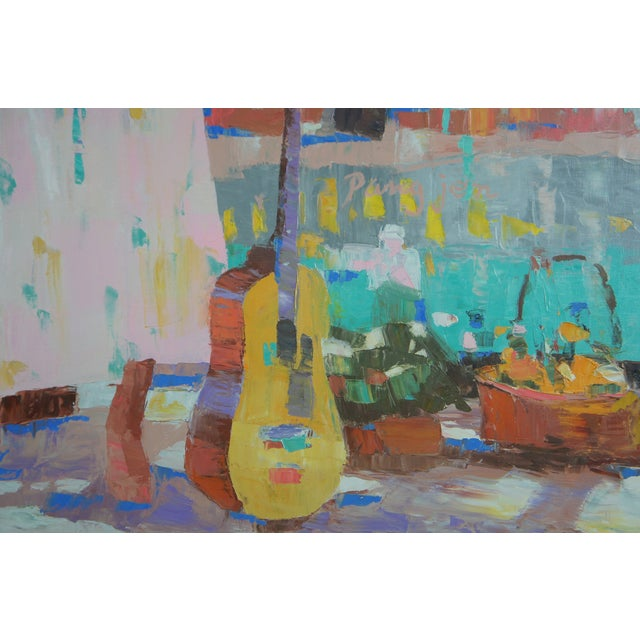"""Purple Pang Jen """"Girl with Guitar"""" Original Modernist Expressionism Oil Painting For Sale - Image 8 of 13"""