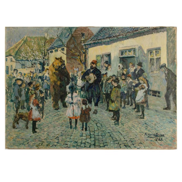 """1920s """"Performing Bear"""" Rustic European Village Scene Oil Painting by Richard Bloos For Sale - Image 11 of 11"""