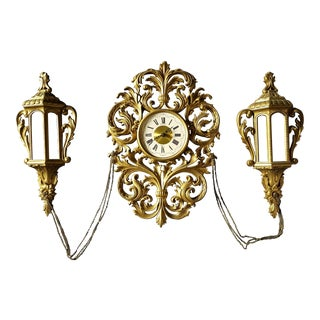 Vintage New Haven Clock Company Gold Kitsch Hollywood Regency Clock W/ Lanterns - 3 Pc. Set