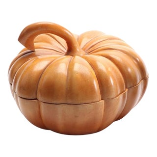 1950s Italian Guglielmo Pecorini Carved Pumpkin Box For Sale