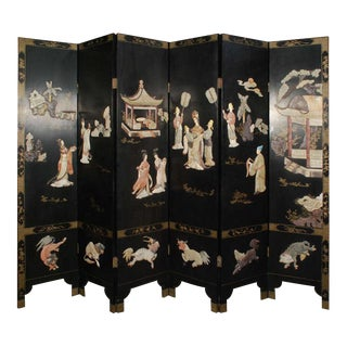 Early 20th Century Chinese 6 Panel Screen With Semi Precious Stones Excellent Condition