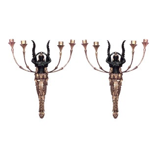 French Empire Style Giltwood and Black Lacquer Four Arm Wall Sconces - a Pair For Sale