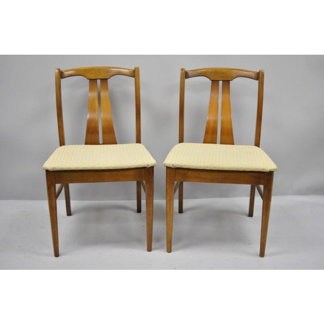 Vintage Mid-Century Modern Curved Back Walnut Dining Chairs - Set of 4 For Sale - Image 10 of 12