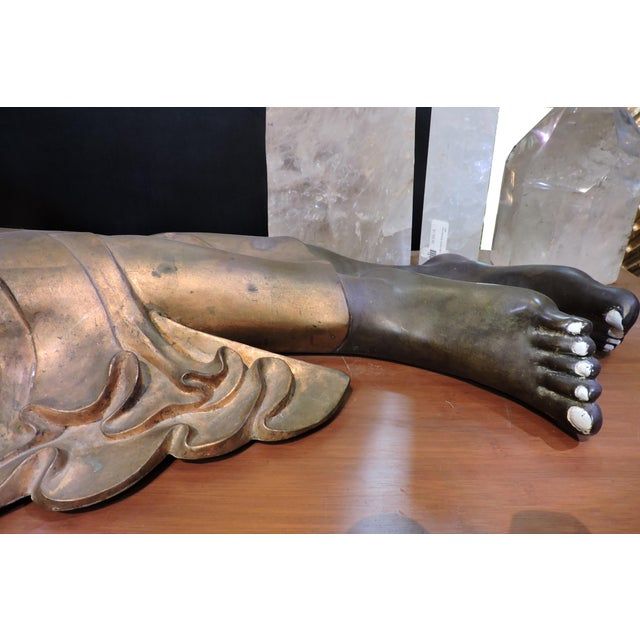 Mid 19th Century Cast Bronze Reclining Charcoal Buddha For Sale - Image 5 of 6