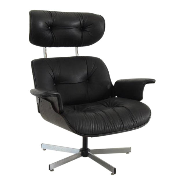 Vintage Black Leather Plycraft Lounge Chair For Sale