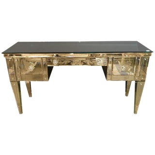 Hollywood Regency Style Etched Glass Vanity or Writing Desk With Glass Pulls For Sale