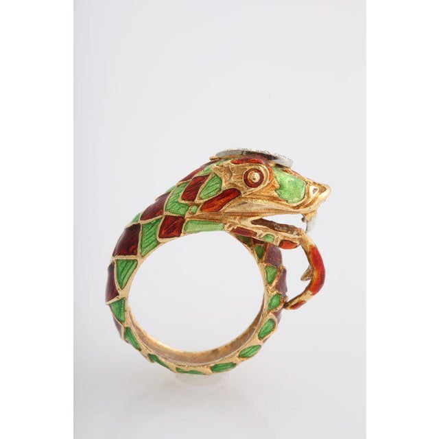 18k Enamel Snake with diamonds on it's head, a bit vicious - he has blood running down his tongue. Approximate depth from...