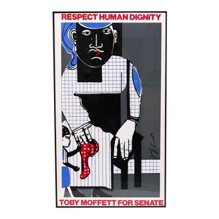 Political Silkscreen by Romare Bearded For Sale