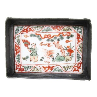 Antique Chinese Pewter and Porcelain Small Tray or Dish For Sale