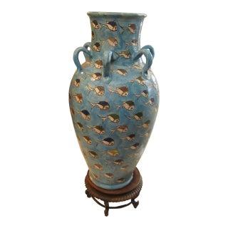 Rustic Terra Cotta Vase in Aqua With Fish For Sale