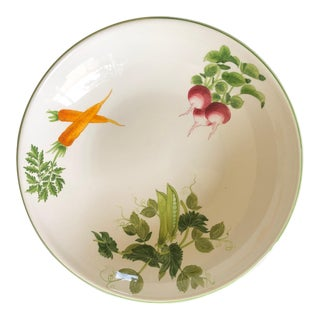 Vintage Large Handpainted Vietri Dish with Carrots, Peas, and Radishes For Sale