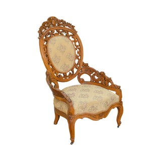 Rococo Revival Exceptional Carved Walnut Antique Victorian Bergere Chair For Sale