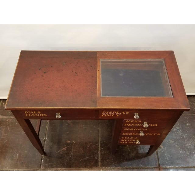 Vintage English Mahogany Clock Repair Bench / Desk For Sale - Image 9 of 10