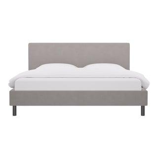 King Tailored Platform Bed in Platinum Velvet For Sale