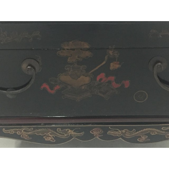 Asian Black Laquer Box on Custom Stand Coffee Table For Sale - Image 12 of 13