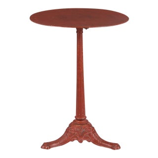 Early 1900s French Bistro Table With Red Tole Top