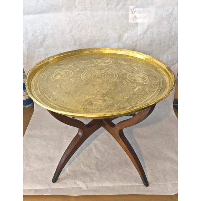 Mid Century Moorish Side Table. Absolutely Fabulous table to add that Moroccan flair to your home. Foldable spider legs...