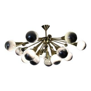 Half Sputnik Mercurised Silver Color Murano Glass Globes Chandelier For Sale