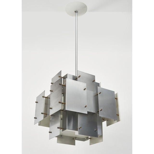 Satin Steel Floating Panel Chandelier by Robert Sonneman For Sale In New York - Image 6 of 11