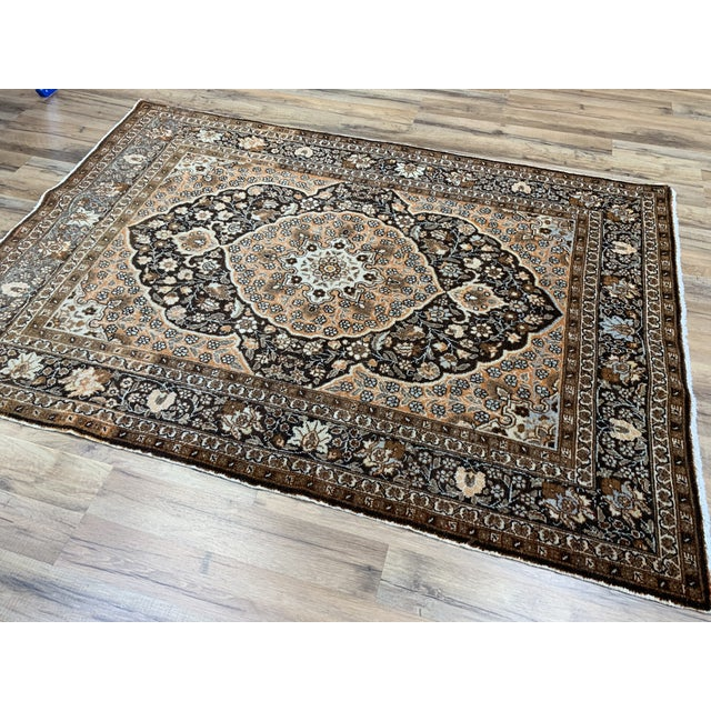 "Antique Persian Tabriz Hajijalili Rug - 4'1""x5'6"" For Sale - Image 9 of 12"